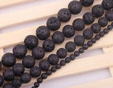 couleur Noir 20 Perles 6mm pierres de lave Boules cirées trou 1mm