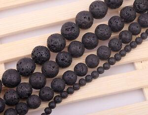 30 perles en pierre de lave naturelle 4 mm