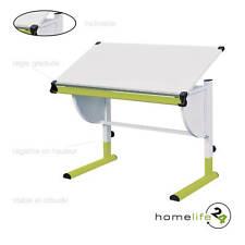 Très beau bureau enfant métal laqué blanc vert panneaux de particules réglabl...