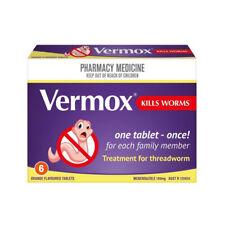 ツ VERMOX KILLS WORMS TREATMENT FOR THREADWORM 6 TABLETS ORANGE FLAVOUR