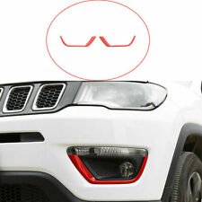 Fit For Jeep Compass 2017-2020 ABS Red Front Fog Light Lamp Strips decor Trim