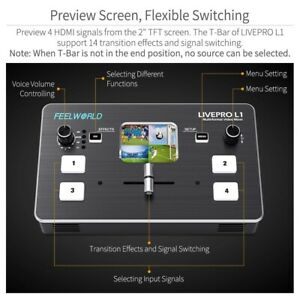1.5A Portable Professional 4 HDMI inputs Video Mixer Switcher Fit live streaming