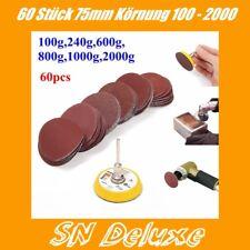 60X Schleifscheiben klett Set 75mm incl. Teller 100-2000er Körnung  Lack Dremel