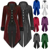 Men Medieval Jacket STEAMPUNK TAILCOAT Goth Victorian Long Coat/Trench Costume