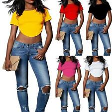 Unbranded Women's Cotton Blend Cropped Blouse Tops & Shirts