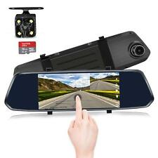 7-Inch Touch Screen Backup Camera Mirror Dash Cam 1080P Front and Rear Dual Lens