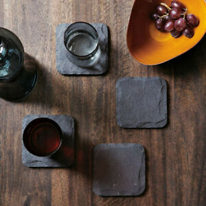 Coasters Place Mat Square Natural Slate Sets Coffee Table Drinks Bulk Sale 10cm