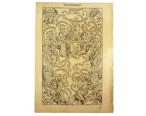 1493 leaf from the Nuremberg Chronicle. The Twelve Apostles and Jesus. Full-page