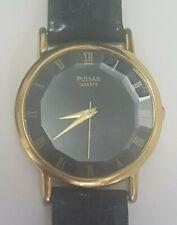 Vintage Pulsar Watch V501-9A20 Beveled Crystal Leather - NEW BATTERY - Engraved