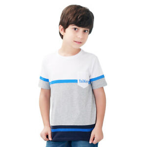 TaiMoon 100% Cotton Short Sleeve Striped T-shirt Tops For Kids Boys Girls