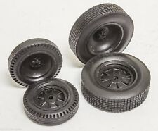 Early 1/25 Dished Dirt Black Resin tires set 2 fronts 2 rears Indy resin USAC