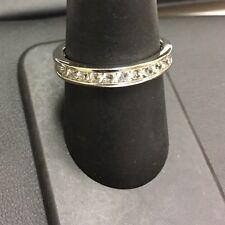 Designer Sterling Silver 925 Channel Set CZ Design Stackable Band Ring