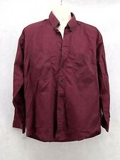 Mens Chesterfield Button-up Long Sleeve Burgundy Shirt Size Large(16-16 1/2)