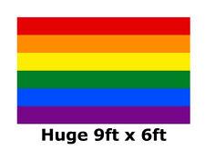 More details for rainbow flag gay pride lgbt huge 9ft x 6ft festive parade march banner