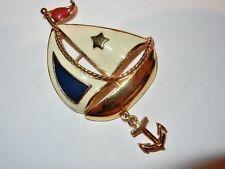 Vintage Avon Sailboat Enamel Brooch Boat Dangling Anchor Rope Gold-tone Pin Nice