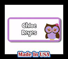 42 Personalized Waterproof Owl Name Labels Stickers Kids Baby Bottle Care School