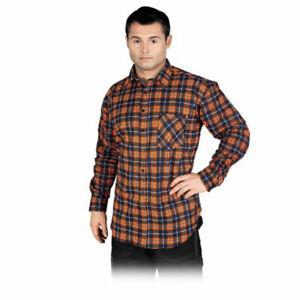 Arbeitshemd Flanellhemd Hemd Holzfällerhemd Blau Orange Karo Gr. M-XXXL