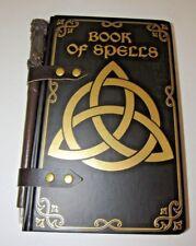 RETRO DARK BROWN & GOLD BOOK OF SPELLS WIZARD JOURNAL WITH WAND PEN