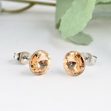 8mm Light Peach Made with Swarovski Rivoli Crystals Stainless Steel Stud Earring