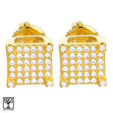Men's CZ 14K Gold Plated Square 3D Block Iced Screw Back Stud Earrings BE 032 G