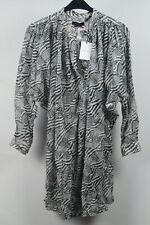 Isabel Marant Damen Kleid Robe Erika Midi-Dress gestreift Weiß Schwarz Gr 38 #P8