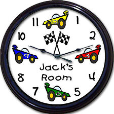 Race Car Custom Personalized Wall Clock Child Transportation NASCAR Bedroom New