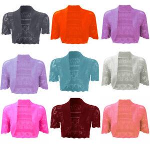 1s Womens Ladies Short Sleeve Crochet Ladies Knitted Bolero Shrugs Tops 8-14