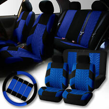 Car Seat Cover for Auto SUV 2 Headrests w/ Steering Wheel/Belt Pads Black Blue