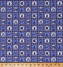 Cotton Dutch Holland Windmills Wooden Shoes Delft Blue Cotton Fabric D573.43