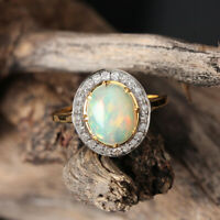 Opal Gemstone Ring Solid 14k Yellow Gold Pave Diamond Jewelry MOTHER'S DAY GIFT