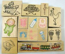 14 Welcome New Baby Wood Mounted Stamp Lot Infant Train Noah Ark Hero Arts Stork