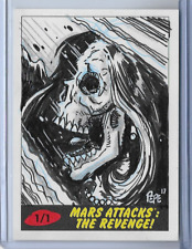 2017 TOPPS MARS ATTACKS THE REVENGE SKETCH CARD BY DARRIN PEPE 1/1
