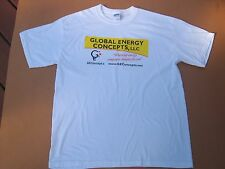 Men~sz Large~white~100% cotton~Graphic T-SHIRT~by GILDAN~Global Energy logo~NWOT