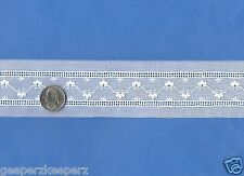 "Swiss Cotton WHITE Embroidered Entreduex Insert Trim 1"" NEW Dolls/ Quilts BTY"