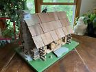 Vintage Hand Made Folk Art Wood Log Cabin Birdhouse Model Diorama Natural Stone