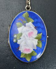 "Vintage SOLID SILVER & Enamel ROSES Flowers Unusual LOCKET Pendant on 25"" Chain"
