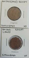 Ah 1362 / 1943 Egypt 5 & 10 Milliemes Coin