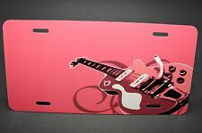PINK ELECTRO GUITAR NOVELTY LICENSE PLATE FOR CAR AND TRUCKS ALUMINUM METAL NICE