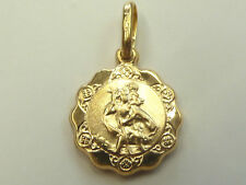 9ct Yellow Gold Very Small Scalloped Edge St Christopher * Fully Hallmarked*