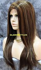 Long Straight Brown Blonde Mix Full Lace Front Wig Heat Ok Hair Piece #8.27.613