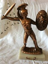 Vtg Leonidas of Sparta Hellenic Art Made in Hellas fig metal statue stone base