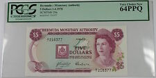 1.4.1978 Bermuda Monetary Authority $5 Note SCWPM# 29a PCGS 64 PPQ Very Ch New