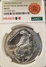 2001 Mexico Silver 5 Pesos Black Tailed Prairie Dog Ngc Ms 67 Highest Graded Top
