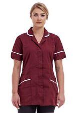 Burgundy classic Hospital Nurse Tunic Top Uniform Clinic care Work Made in UK