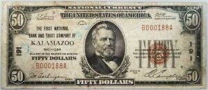 1929 $50 Nat'l Currency, The First National Bank and Trust Co. of Kalamazoo, MI!