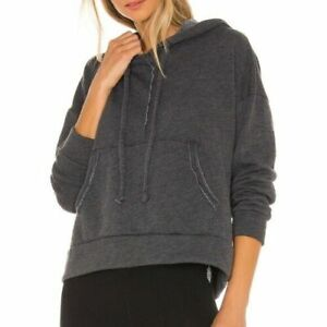 Free People Movement Work It Out Hoodie Sweatshirt Size M Slouchy Black NWT B5