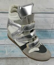 Hi Essential Women's Silver High Top Wedge Sneakers Shoe Size 10