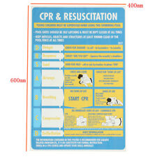 Plastic CPR & Resuscitation Chart DRSABC Swimming Pool Spa Safety Sign Stickers