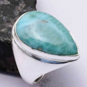 Larimar Ethnic Handmade Men's Ring Jewelry US Size-10 AR 44091