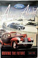 PLAQUE METAL vintage USA FORD ALWAYS AHEAD  - 45 X 30 CM